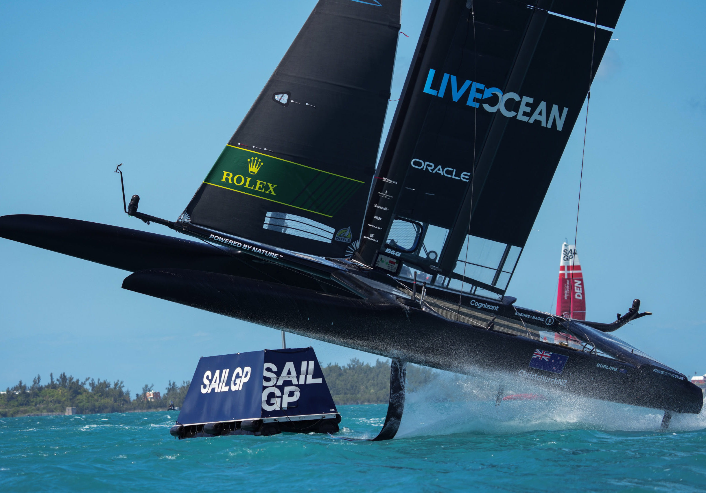 New Zealand SailGP Team helmed by Peter Burling gets high out of the water whilst competing at Bermuda SailGP presented by Hamilton Princess, Event 1 Season 2 in Hamilton, Bermuda. 23 April 2021. Photo: Bob Martin for SailGP. Handout image supplied by SailGP