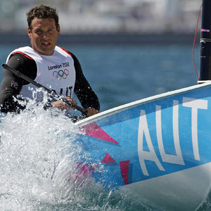 Florian Raudaschl of Austria sails in the Finn class during a practice race ahead of the start of the London 2012 Olympic Games in Weymouth and Portland, southern England, July 28, 2012. REUTERS/Benoit Tessier (BRITAIN - Tags: SPORT YACHTING OLYMPICS)